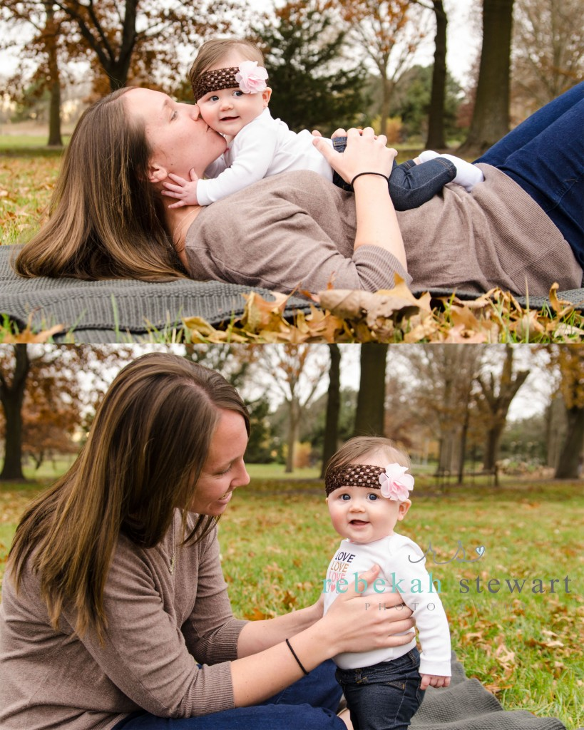 A six month old baby girl is snuggled with her mom in Cedar Rapids {child photography}