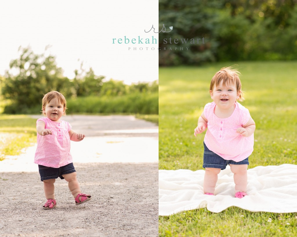 A one year old baby girl plays in Cedar Rapids