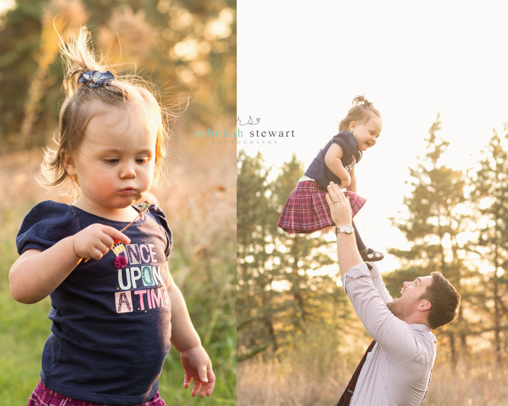 A toddler blows a dandelion puff and is tossed in the air by her father