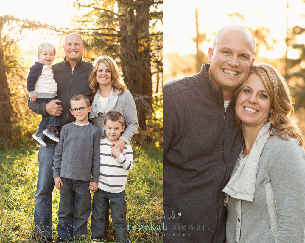 A family of five stands in front of fall trees | A couple hugs