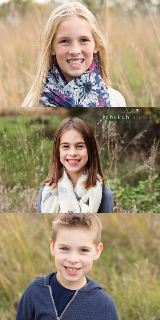 Three children smile during a family photography session in Cedar Rapids