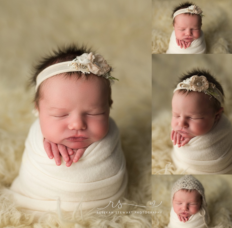 sleepiest baby girl is photographed during her newborn session in Cedar Rapids